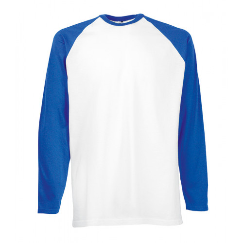 Fruit of the loom Long Sleeve Baseball White/Royal Blue