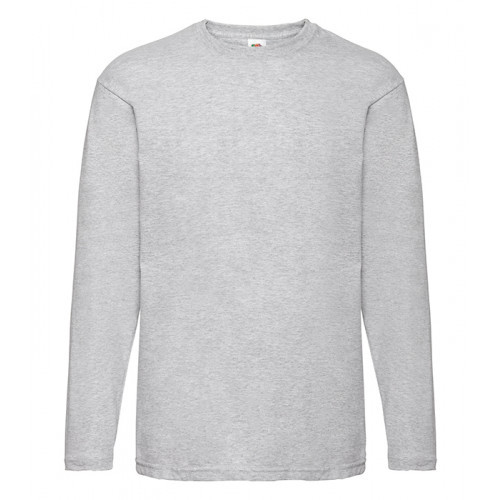 Fruit of the loom T-shirt Valueweight Long Sleeve Heather Grey