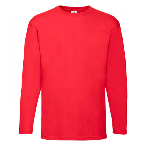 Fruit of the loom T-shirt Valueweight Long Sleeve Red