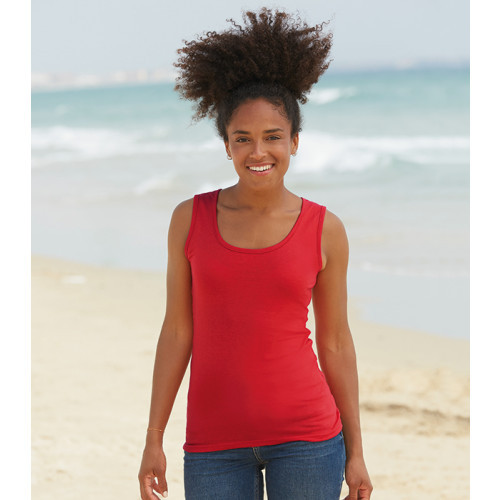 Fruit of the loom Ladies Valueweight Vest Red