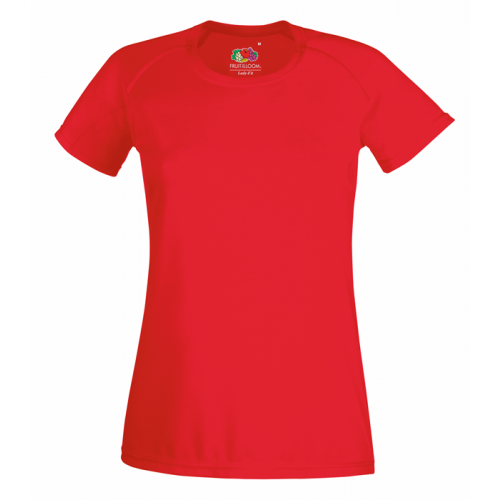 Fruit of the loom Ladies Performance T Red