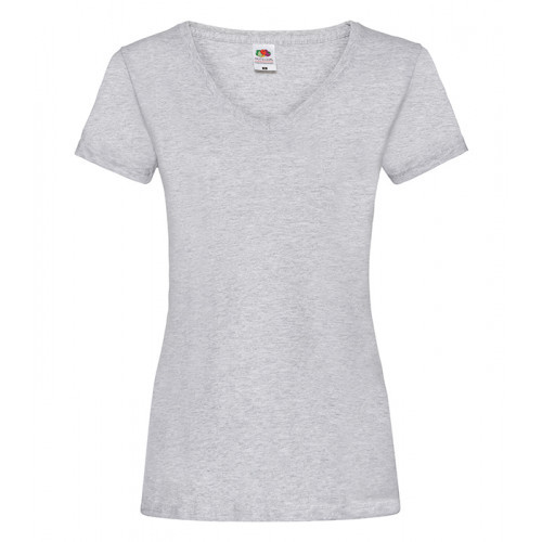 Fruit of the loom Ladies Valueweight V-Neck T Heather Grey
