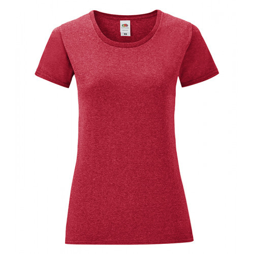 Fruit of the Loom Ladies Iconic Ringspun T Heather Red