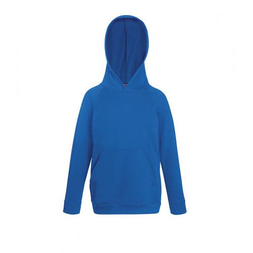 Fruit of the loom Kids Lightweight Hooded Sweat Royal Blue