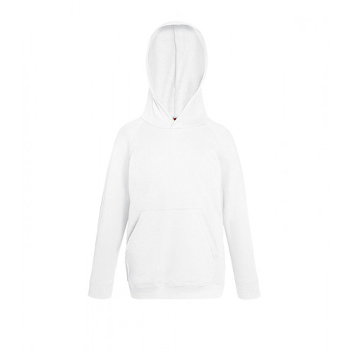 Fruit of the loom Kids Lightweight Hooded Sweat White