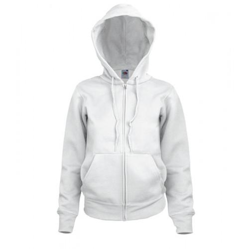 Fruit of the loom Ladies Hooded Sweat Jacket White