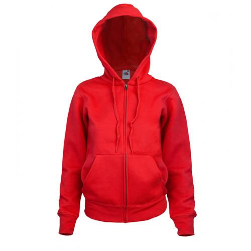 Fruit of the loom Ladies Hooded Sweat Jacket Red