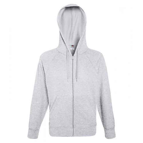 Fruit of the loom Lightweight Hooded Sweat Jacket Heather Grey
