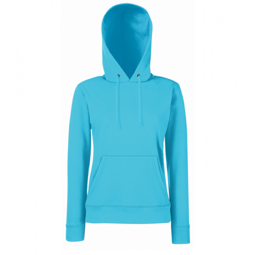 Fruit of the loom Ladies Lightweight Hooded Sweat Azure Blue