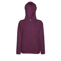 Fruit of the loom Ladies Lightweight Hooded Sweat Burgundy