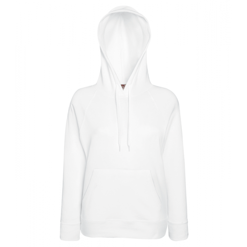 Fruit of the loom Ladies Lightweight Hooded Sweat White