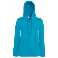 Fruit of the loom Ladies Lightweight Hooded Sweat Jacket Azure Blue
