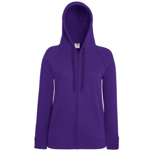 Fruit of the loom Ladies Lightweight Hooded Sweat Jacket Purple