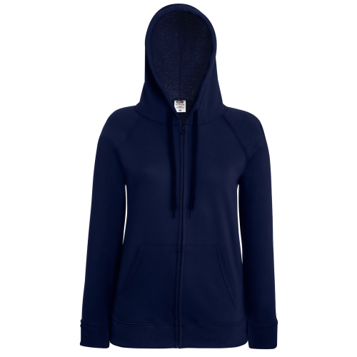 Fruit of the loom Ladies Lightweight Hooded Sweat Jacket Deep Navy
