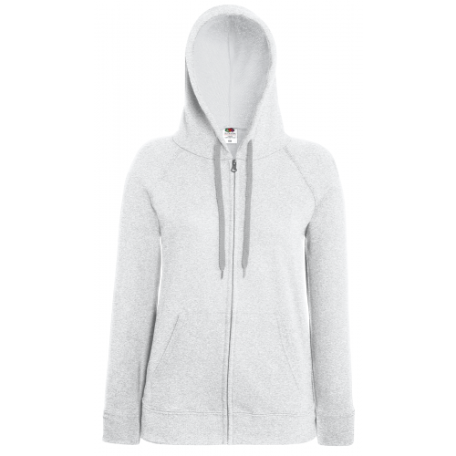 Fruit of the loom Ladies Lightweight Hooded Sweat Jacket Heather Grey