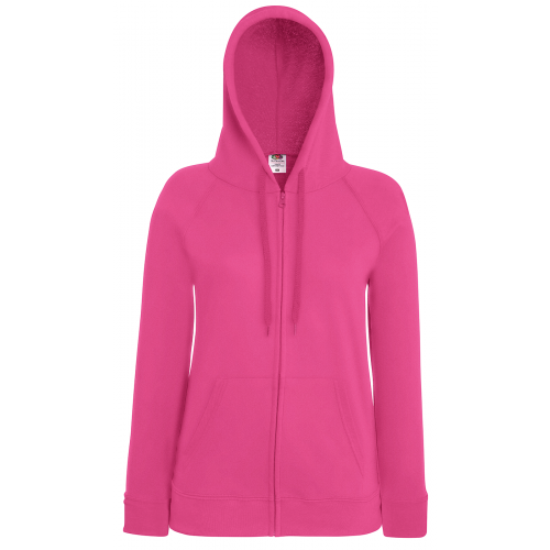 Fruit of the loom Ladies Lightweight Hooded Sweat Jacket Fuchsia