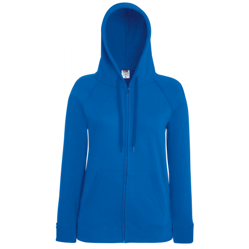 Fruit of the loom Ladies Lightweight Hooded Sweat Jacket Royal Blue