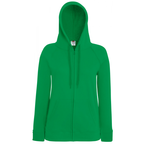 Fruit of the loom Ladies Lightweight Hooded Sweat Jacket Kelly Green