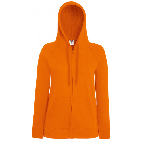 Fruit of the loom Ladies Lightweight Hooded Sweat Jacket Orange