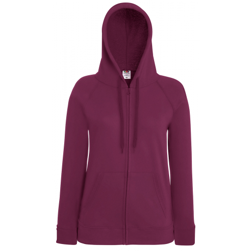 Fruit of the loom Ladies Lightweight Hooded Sweat Jacket Burgundy