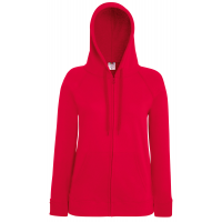 Fruit of the loom Ladies Lightweight Hooded Sweat Jacket Red