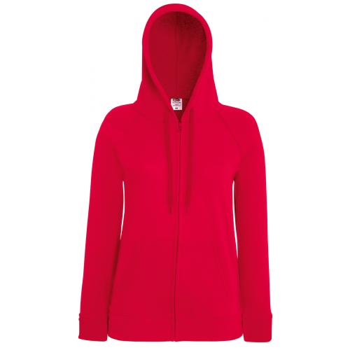 Fruit of the loom Ladies Lightweight Hooded Sweat Jacket Red