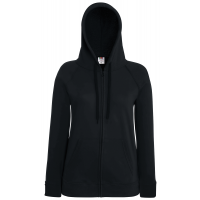 Fruit of the loom Ladies Lightweight Hooded Sweat Jacket Black