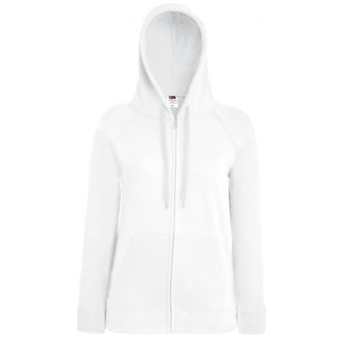 Fruit of the loom Ladies Lightweight Hooded Sweat Jacket White