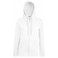 Fruit of the loom Ladies Lightweight Hooded Sweat Jacket White