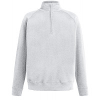 Fruit of the loom Lightweight Zip Neck Sweat HEATHER GREY