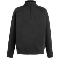 Fruit of the loom Lightweight Zip Neck Sweat Black