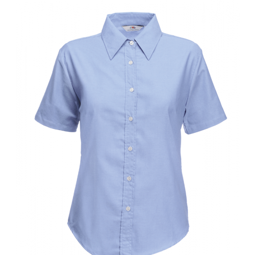 Fruit of the loom Ladies Short Sleeve Oxford Shirt Oxford Blue