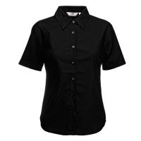 Fruit of the loom Ladies Short Sleeve Oxford Shirt Black