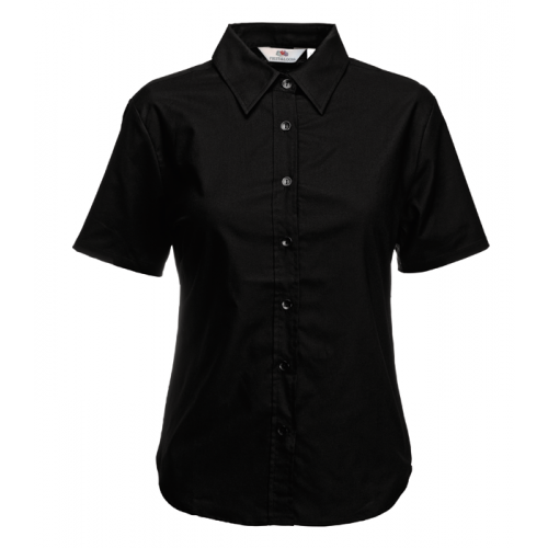 Fruit of the loom Ladies Short Sleeve Oxford Shirt Black