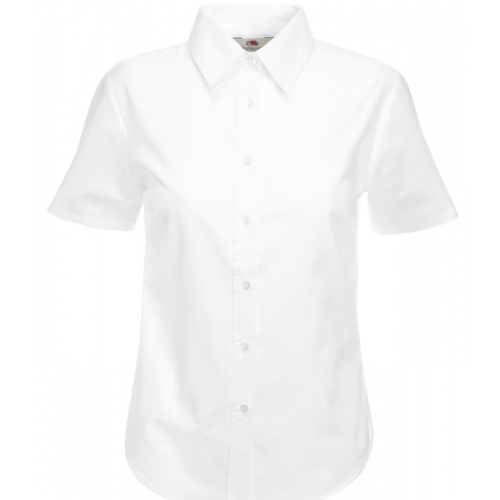 Fruit of the loom Ladies Short Sleeve Oxford Shirt White