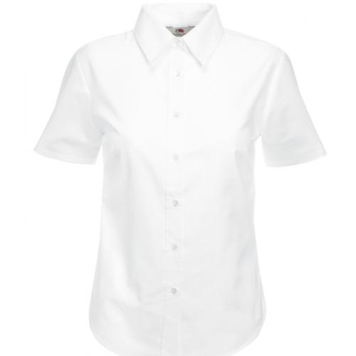 Fruit of the loom Ladies Short Sleeve Oxford Shirt White