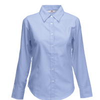 Fruit of the loom Ladies Long Sleeve Oxford Shirt Oxford Blue