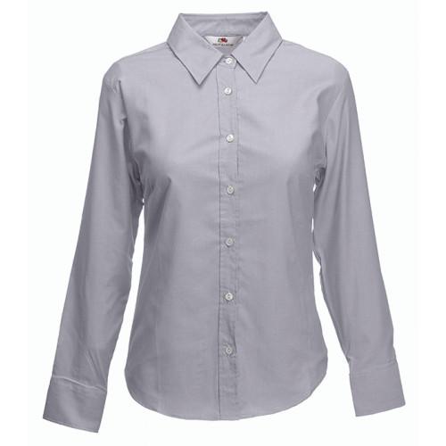 Fruit of the loom Ladies Long Sleeve Oxford Shirt Oxford Grey