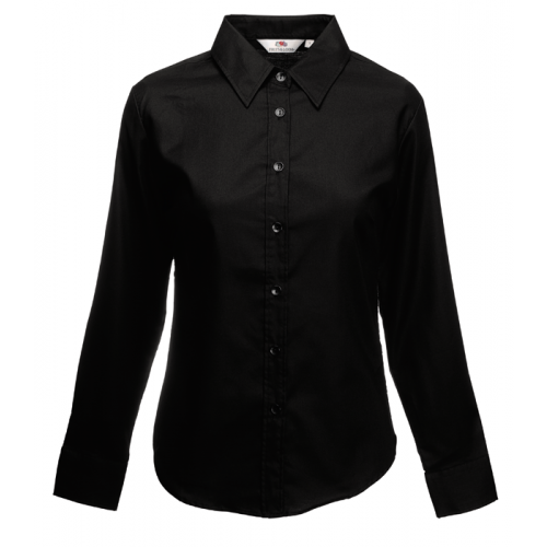 Fruit of the loom Ladies Long Sleeve Oxford Shirt Black