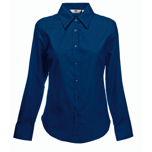 Fruit of the loom Ladies Long Sleeve Oxford Shirt Navy