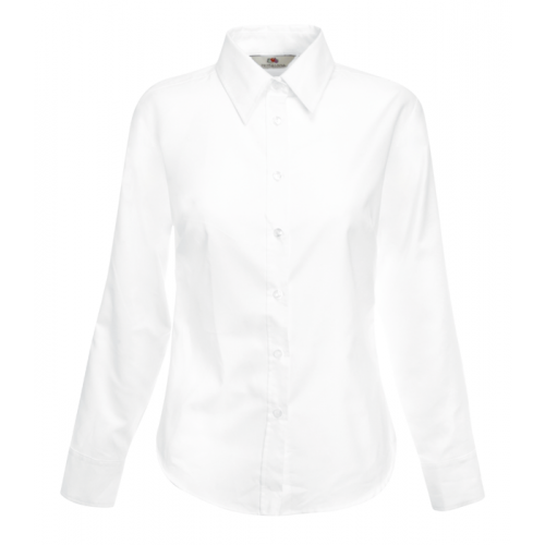 Fruit of the loom Ladies Long Sleeve Oxford Shirt White