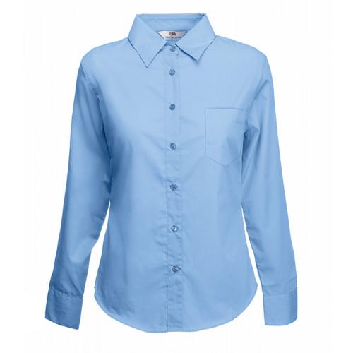 Fruit of the loom Ladies Long Sleeve Poplin Shirt Mid Blue
