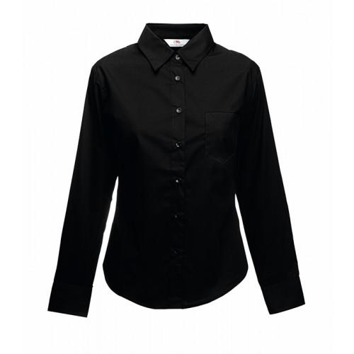 Fruit of the loom Ladies Long Sleeve Poplin Shirt Black