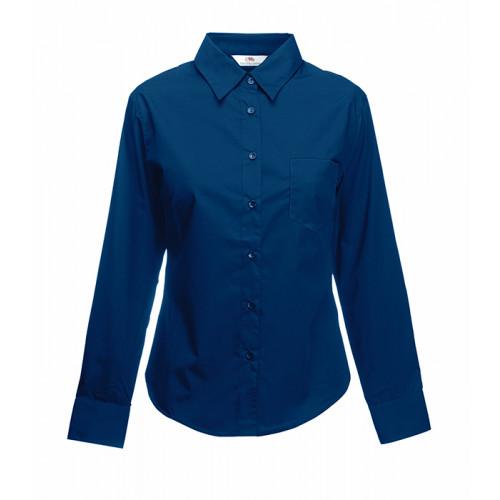 Fruit of the loom Ladies Long Sleeve Poplin Shirt Navy