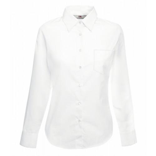 Fruit of the loom Ladies Long Sleeve Poplin Shirt White