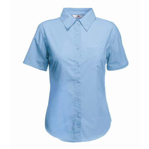 Fruit of the loom Ladies Short Sleeve Poplin Shirt Mid Blue