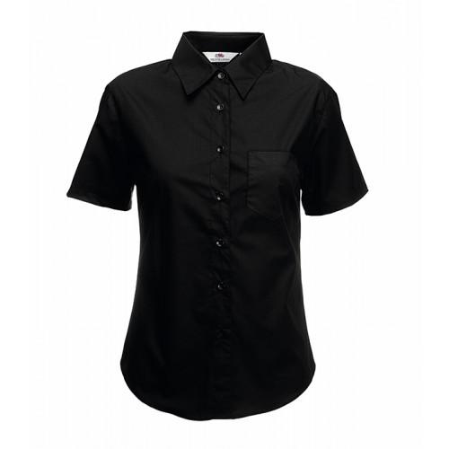 Fruit of the loom Ladies Short Sleeve Poplin Shirt Black