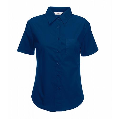 Fruit of the loom Ladies Short Sleeve Poplin Shirt Navy