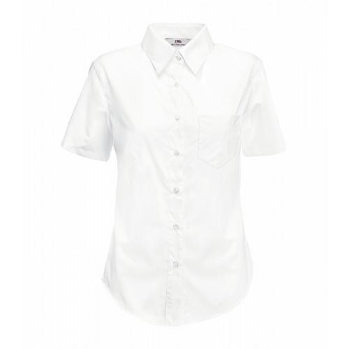 Fruit of the loom Ladies Short Sleeve Poplin Shirt White