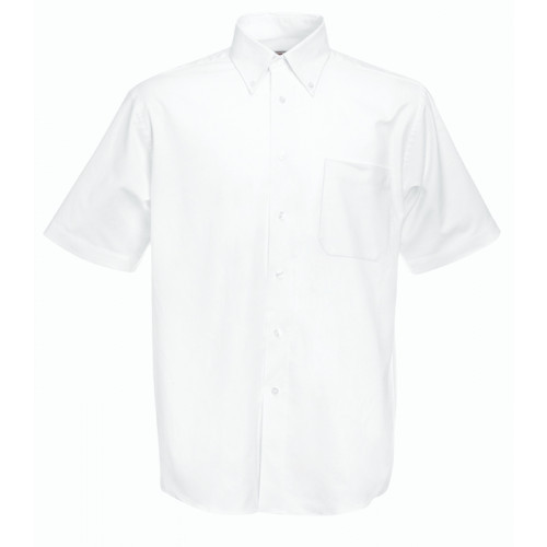 Fruit of the loom Short Sleeve Oxford Shirt White